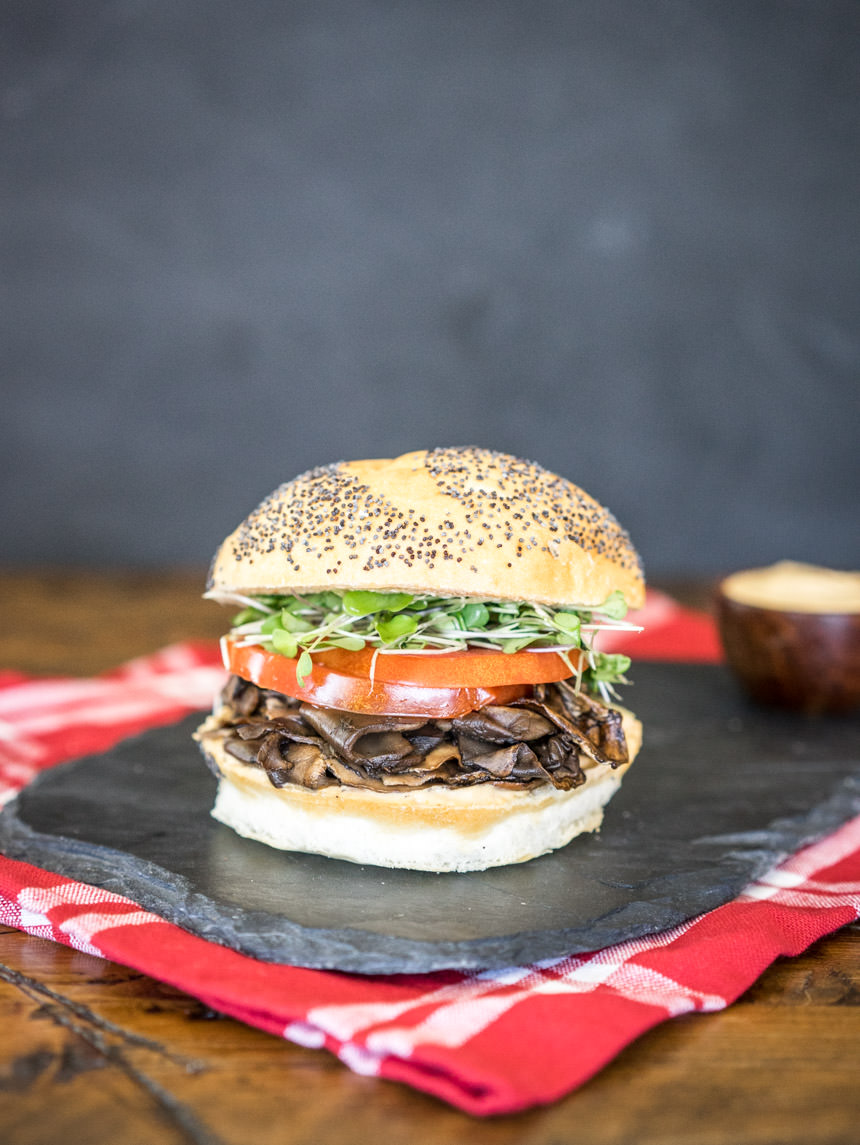 "Portobello ""Roast Beef"" Sandwiches with Vegan Chipotle Mayo"