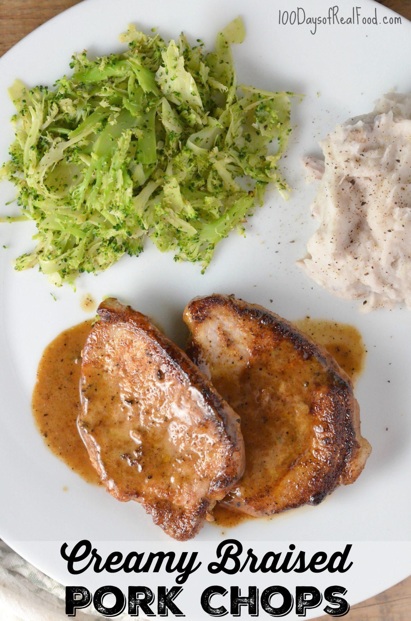 Creamy Braised Pork Chops (or Chicken)