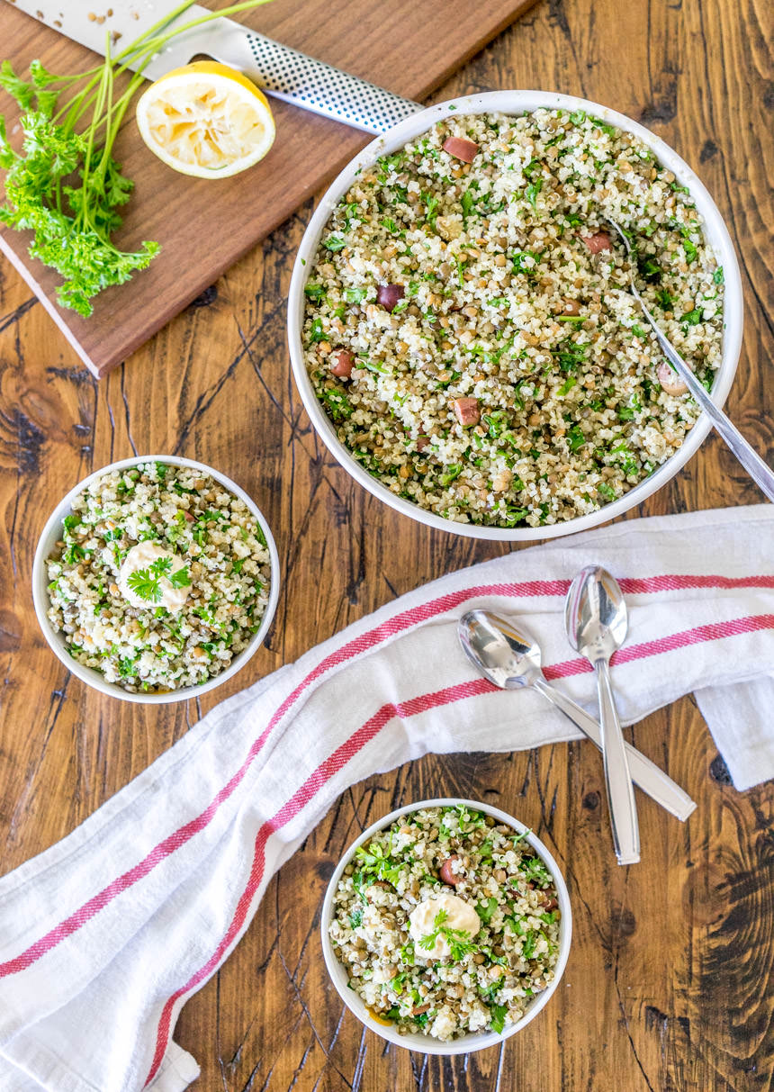 Quinoa Tabbouleh with Lentils and Olives