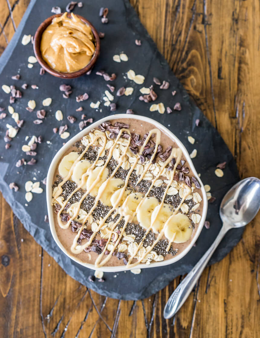Chocolate Peanut Butter Cup Superfood Smoothie Bowl